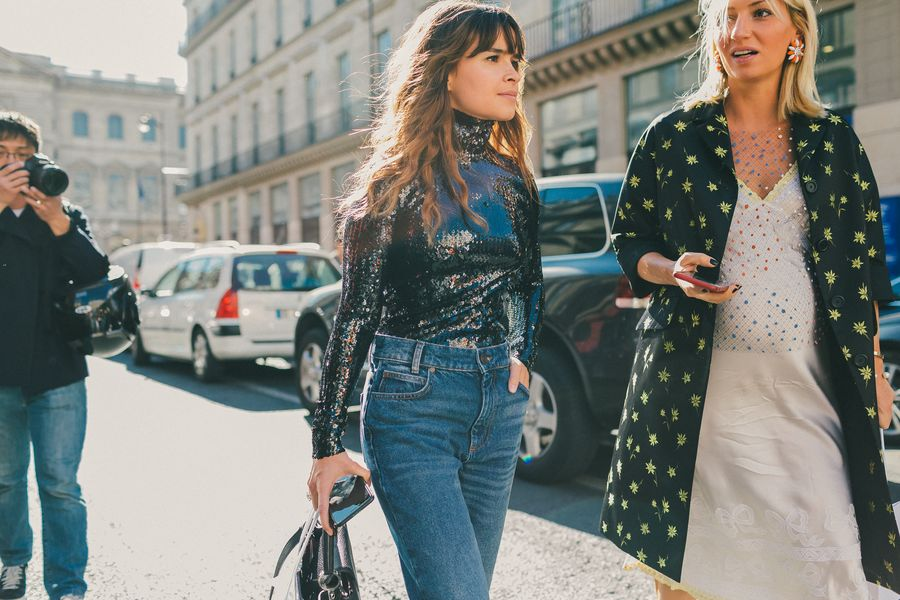 sequins-sequined-top-silver-sequined-turtleneck-mom-jeans-bump-style-evenign-to-day-dressing-evening-to-day-night-to-day-paris-fashion-week-street-style-fall-fashion-racked